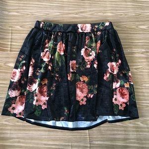 Garage Velvet Rose Floral Circle Skater Skirt